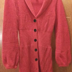 Orange knit sweater coat, Sz M